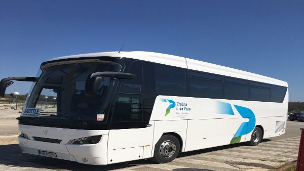 Shuttle bus connects Pula Airport with the Pula city centre