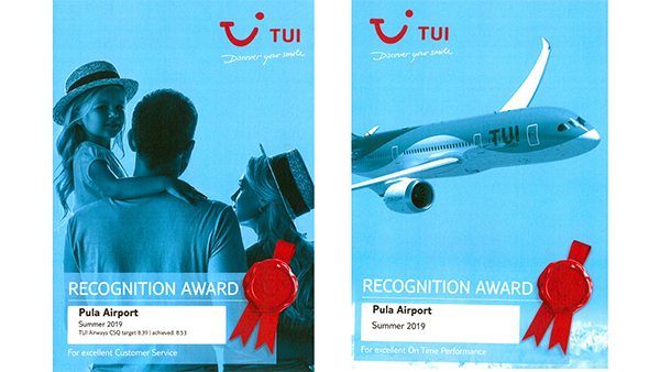 Two Awards to Pula Airport from TUI Airways